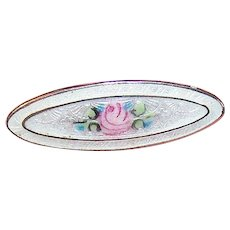 C.1900 STERLING SILVER Pin - Baby Pin - Lingerie Pin - White Enamel with Pink Rose