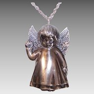 Vintage STERLING SILVER Ornament by RM Trush - Little Girl Angel