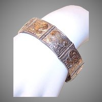 Vintage Sterling Silver Link Bracelet - Mexican, 9K Gold Etched Top