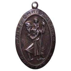Vintage STERLING SILVER Religious Medal - Saint Christopher