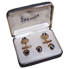 Vintage BOXED SET - Mens Cufflinks and Studs - Gold Metal and Catseye