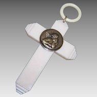 Vintage FRENCH CELLULOID Croix de Berceau - Raphael's Angel, Cupid, Putti