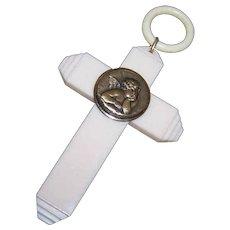 Vintage FRENCH CELLULOID Croix de Berceau - Raphael's Angel, Cupid, Putti - Red Tag Sale Item