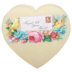 ART DECO Celluloid Box - Heart - With Victorian Die Cut Embellishment