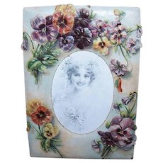 ANTIQUE VICTORIAN Cardboard Frame - Lots of Pansies