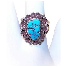Vintage STERLING SILVER Ring - Native American, Kingman Turquoise