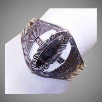 Sterling Black Agate Cuff Bracelet