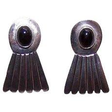 Vintage STERLING SILVER Earrings - Black Onyx, Pierced Drops