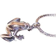 Vintage STERLING SILVER Pendant -Small Frog, Toad by Kurt Morrison, Canada Jeweler