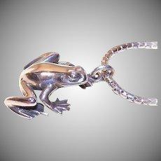 Vintage Sterling Silver Frog Pendant