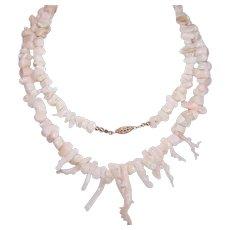 "Vintage PINK CORAL Necklace -  Branch Coral, Angel Skin, 30"" Long"