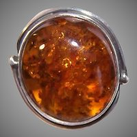 Vintage STERLING SILVER Ring - Golden Honey Amber, Retro Modern Design