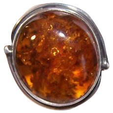 Vintage STERLING SILVER Ring - Golden Honey Amber, Retro Modern Design