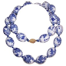 Vintage PORCELAIN BEAD Necklace - Chinese, Blue, White, Oval, Ceramic Beads