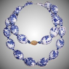 Vintage PORCELAIN BEAD Necklace - Chinese, Blue and White Oval Beads