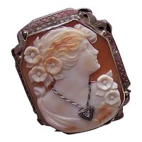 Art Deco 14K Gold Carved Shell Cameo Pin Pendant Combo - Lady Wearing Diamond Necklace and Pendant