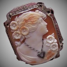ART DECO 14K Gold Pin - Shell Cameo, Lady with Diamond Necklace, Pendant