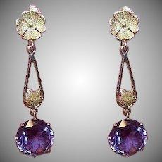 ART DECO 14K Gold Earrings - 9.25 CT TW, Synthetic, Alexandrite, Drop Earrings
