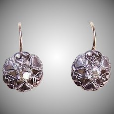 ART DECO 10K Gold Earrings - 800/900 Silver, Glass Paste, Hearts