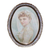 Vintage GOLD METAL Frame - Oval, Clear Rhinestone Edge, Wedding Image