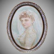 Vintage GOLD METAL Frame - Oval, Clear Rhinestone Edge, Wedding Image
