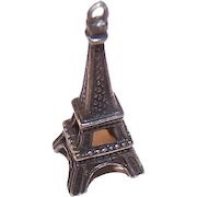 Vintage STERLING SILVER Charm - French, Eiffel Tower, France