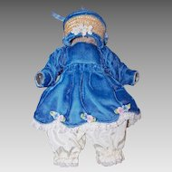 VINTAGE Doll Clothing Set - Blue Velvet Dress, Satin Bloomers, Straw Hat