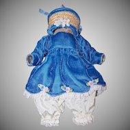 VINTAGE Doll Clothing Set - Blue Velvet Dress, Satin Bloomers, Straw Hat