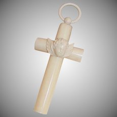 Vintage FRENCH CELLULOID Croix de Berceau - Crib Cross for Baby
