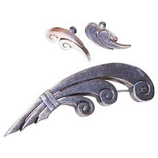 Vintage 980 SILVER Jewelry Set - Mexican, La Cucaracha, Pin, Earrings