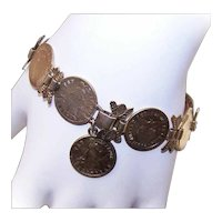 Coin Silver Trench Art Sweetheart Bracelet