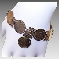 Retro Modern COIN SILVER Bracelet - Sweetheart, Trench Art, Philippine USA Coins