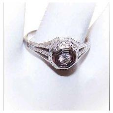 ART DECO 18K Gold Engagement Ring - .10CT Diamond, Size 8-1/4
