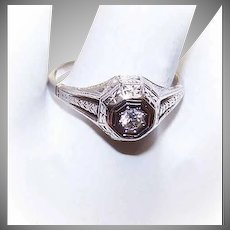ART DECO 18K Gold Engagement Ring - .10CT Diamond, Size 8-1/4