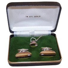 14K Gold Diamond Cufflinks Set in Original Box