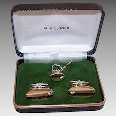 30% OFF Vintage 14K Gold Cufflink Set - Diamond Accents, Tie Pin, Cufflinks, Original Box
