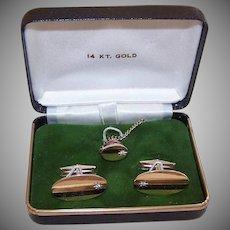 Vintage 14K Gold Cufflink Set - Diamond Accents, Tie Pin, Cufflinks, Original Box