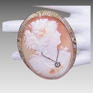 Huge ART DECO Cameo Pin - 14K Gold, Cornelian Shell, Lady Wearing Diamond Necklace