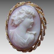 Vintage 10K Gold Cameo Pin - Pink Shell, Natural Pearl, Pendant