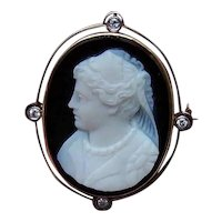 Antique 18K Gold Diamond Hardstone Cameo Pin Pendant