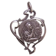 French ART NOUVEAU Pendant - 800/900 Silver, First Communion, Young Girl, Medal