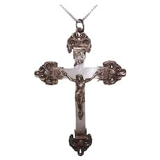 Antique Edwardian French Silver Religious Rosary Crucifix or Cross Pendant