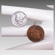 Vintage COIN CHARMS - 1939 Coin Silver Mercury Dime, 1887 Indian Head Copper Penny