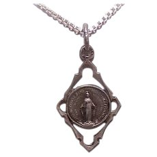 Vintage FRENCH SILVERPLATE Pendant - Religious, Medal, Charm, Virgin Mary, Miraculous Medal