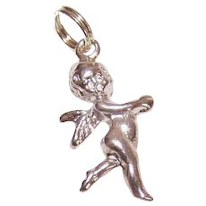 Vintage STERLING SILVER Charm - Fairy, Sprite, Pixie, With Wings