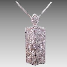 ART DECO 10K Gold Pendant - White Gold, Filigree, Diamond, Pin