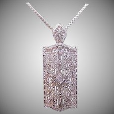 ART DECO 10K Gold Pendant - White Gold, Filigree, Diamond, Pin