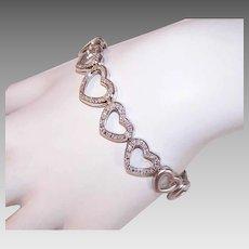 Vintage 14K GOLD Bracelet - Hearts, Link, .75CT TW Diamonds, Matte and Shiny Gold