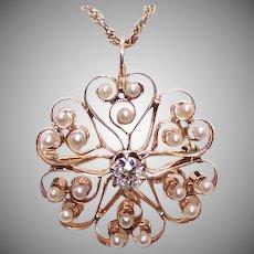 ANTIQUE VICTORIAN 14K Gold Pendant - .50CT Diamond, Natural Pearl, Pin, Hearts