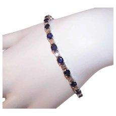 ESTATE 18K Gold Bracelet - 7.80CT TW, Diamond, Blue Sapphire, Line, Tennis, Art Deco Look